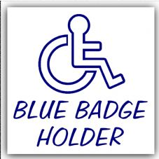 1 x Blue Badge Holder-EXTERNAL OUTLINE DESIGN-Disabled Car Sticker -Disability Wheelchair- Mobility Self Adhesive Sign